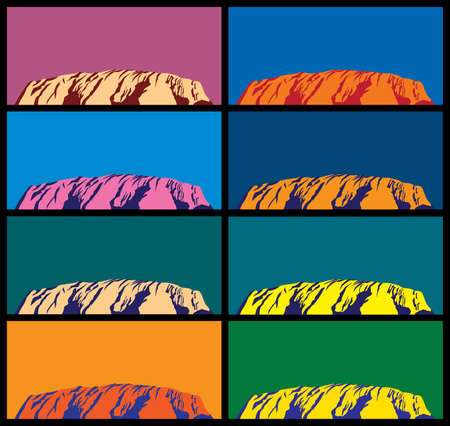 ayers: Australian attractions. Ayers Rock in different colors styled pop art.