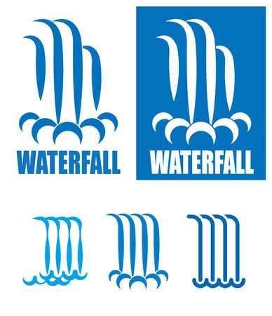 Imágenes estilizadas de waterfalls.It se pueden utilizar como un logotipo, signo o símbolo en sus proyectos Foto de archivo - 44413719