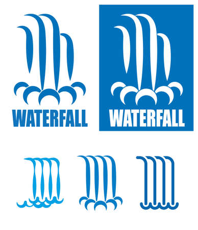 waterfalls: stylized images of waterfalls.It can be used as a logo, sign or symbol in your projects