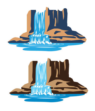 Stylized vector illustration waterfalls