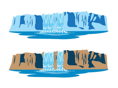 waterfall river: stylized vector illustration of mountain waterfalls
