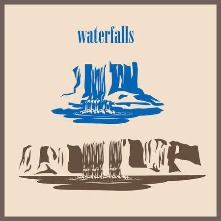 Stylized Vektor-Illustration Wasserfälle
