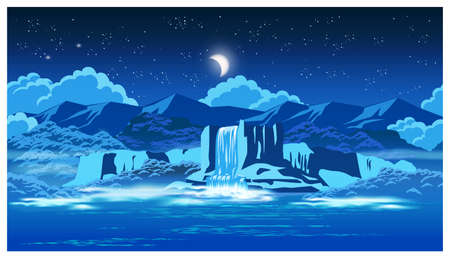 picturesque: Vector illustration on the theme of picturesque waterfall at night and highlands. Seamless horizontally if needed