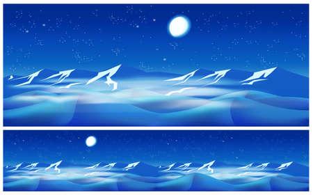gobi: Vector illustration of the desert at night. seamless horizontally if needed Illustration