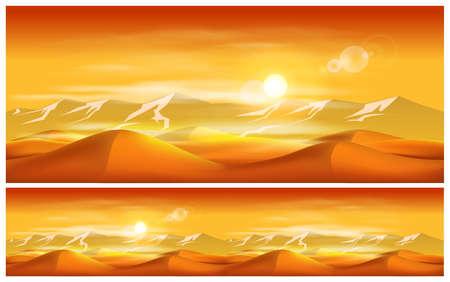 desierto del sahara: Ilustración del vector en el tema oriental. Desiertos y las tormentas de arena.
