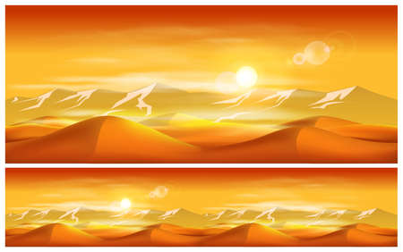 desert scenes: Vector illustration on the eastern theme. Deserts and sandstorms.