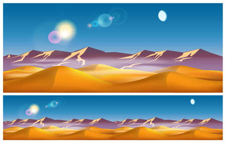 kalahari desert: Vector illustration on the eastern theme. Hot desert in the daytime. Illustration