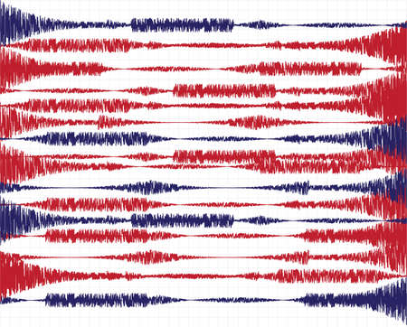 seismograph: Vector illustration on the theme of seismic activity, oscillations and waves Illustration