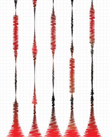 sismográfo: Ilustración del vector en el tema de la actividad sísmica, oscilaciones y ondas