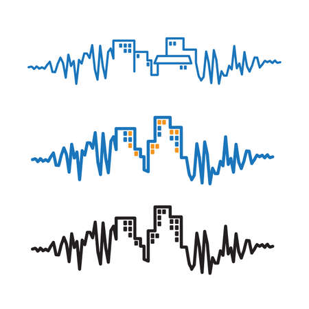 pace: Stylized vector illustration on the theme of bustling cities with their fast pace. visualization of noise and movement Illustration