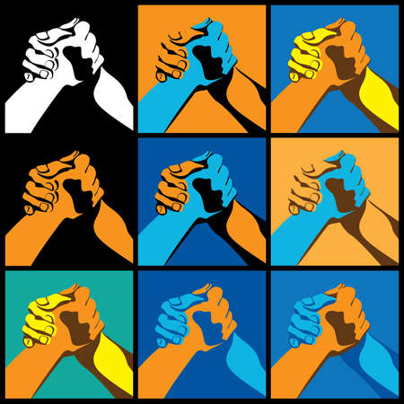 strong arm: Several variants Stylized vector illustration on the theme of arm wrestling, strength sports and competition Illustration