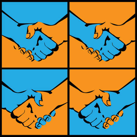 poign�es de main: several variants of stylized vector illustrations of handshakes