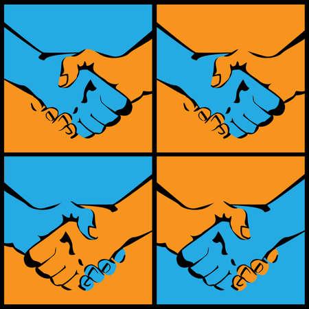 manos estrechadas: varias variantes de ilustraciones vectoriales estilizadas de apretones de manos Vectores