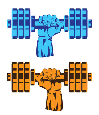 hand with dumbbell: Stylized vector illustration on the theme of weightlifting, fitness, bodybuilding, sports. Hand with dumbbell. Illustration
