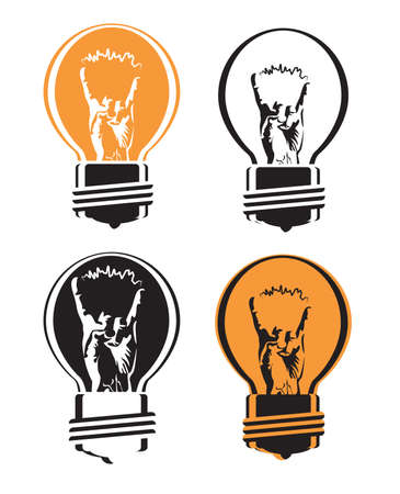 metal light bulb icon: stylized vector illustration with a light bulb filament with a hand gesture cool