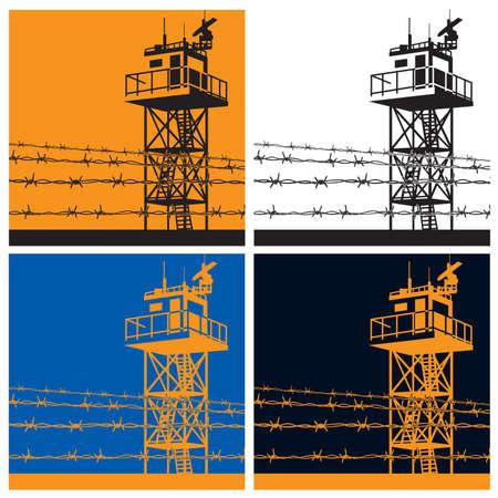Vector illustratie op het thema van de grenzen. wachttoren of uitkijktoren