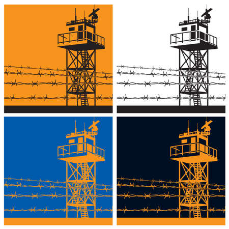 Vector illustration on the theme of frontiers. watchtower or observation tower Çizim