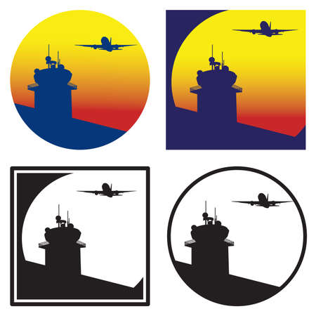 jet airplane: stylized vector illustration of a control tower and a plane taking off on the background of the sun