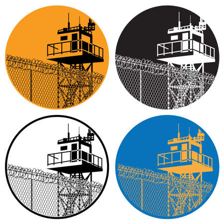 prisoner of war: Stylized vector illustration of a watchtower with high fences and barbed wire
