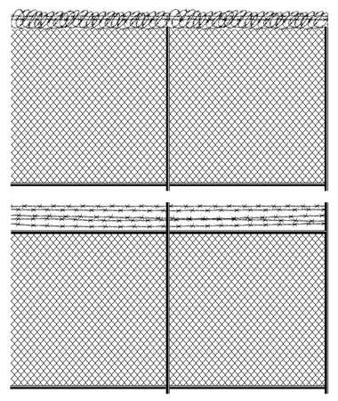 Hoog hek mesh netten en prikkeldraad. Naadloze horizontaal indien nodig