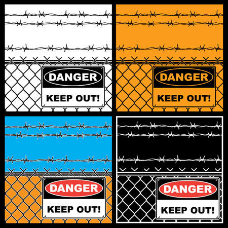 Some stylized vector illustration of danger sign on Rabitz steel wire