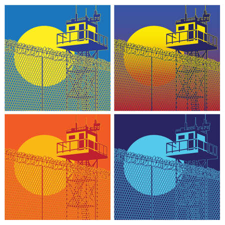 prisoner of war: Stylized vector illustration of a watchtower with high fences and barbed wire at different times of the day Illustration