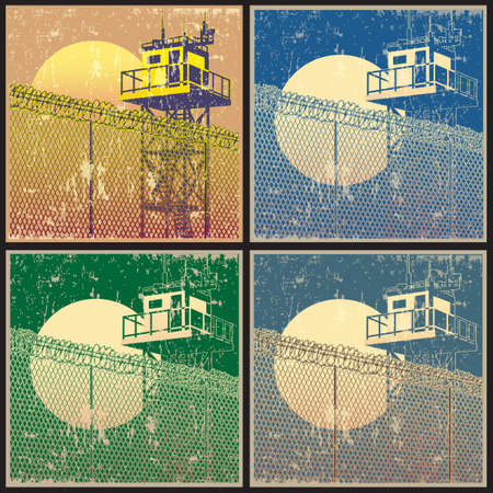 Watchtower. Vector illustration stylized as old posters Illustration