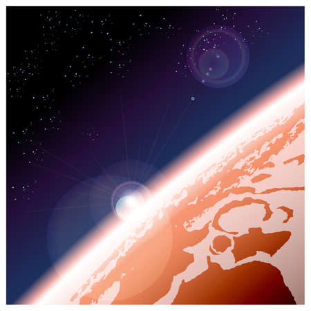 an orbit: Vector illustration view from Martian orbit to the planets surface Illustration