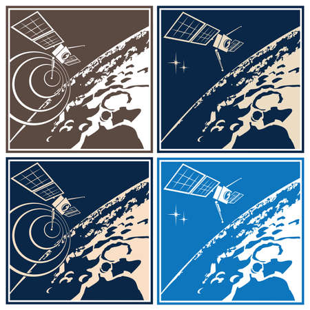 exploration: Stylized vector illustration on the theme of space exploration. Research satellite orbiting the distant planet or planetoid Illustration