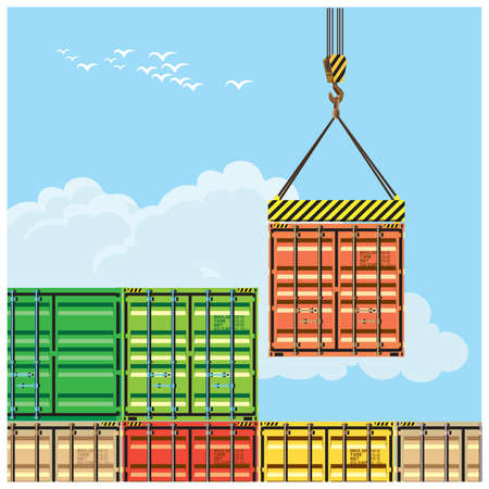 Stylized vector illustration on the theme of logistics and transport. Container handling Illustration