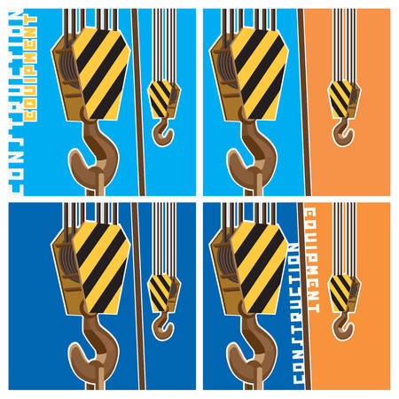outdoor advertising construction: Several variants vector illustration on a theme of construction equipment