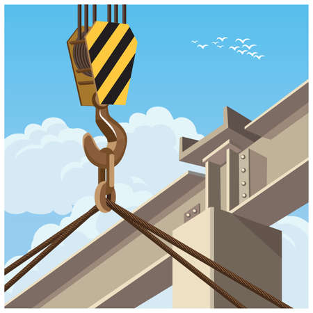 hoist: Vector illustration on the theme of high-rise construction and construction equipment