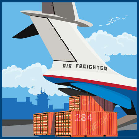 Vector illustration on the theme of air cargo. Loading of containers on board the cargo plane Ilustração
