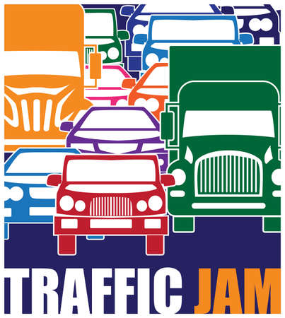 traffic jams: Stylized minimalist vector illustration on the theme of traffic and traffic jams during peak hours in the big city