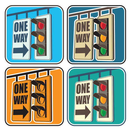 city lights: Stylized vector illustration on the theme of traffic in the city. Traffic lights and a sign