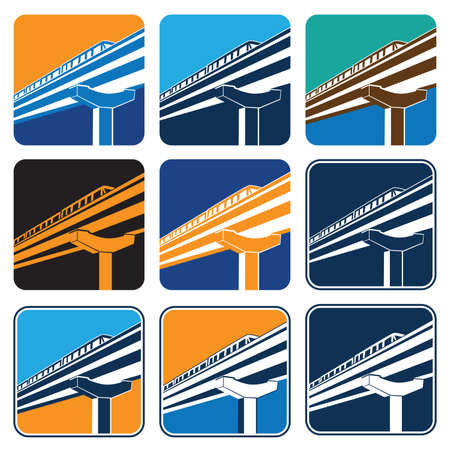 monorail: Vector illustration on the theme of urban transport. City train in different color options