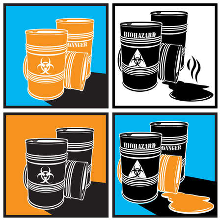 chemical spill: stylized vector illustration of barrels with biohazard signs