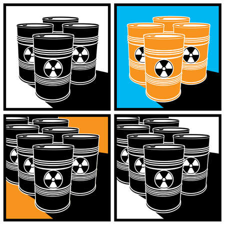 barrels with nuclear waste: Stylized vector illustration on the theme of ecology and radioactive waste
