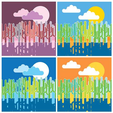 arizona sunset: Stylized vector illustration of desert with cactus. Seamless horizontally if needed Illustration