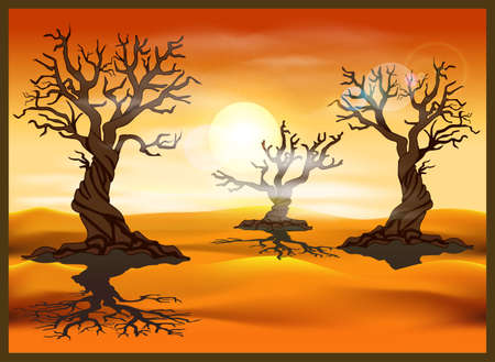 Stylized vector illustration of a desert landscape with dead trees. Seamless horizontally if needed