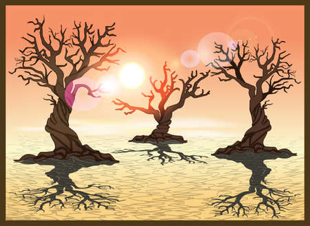 cracked earth: Stylized vector illustration of a desert with cracked earth. Seamless horizontally if needed Illustration