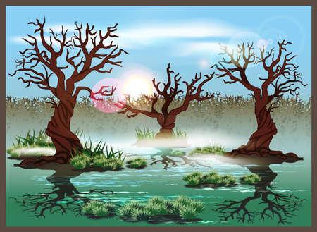 Stylized vector illustration marshland. Seamless horizontally if needed