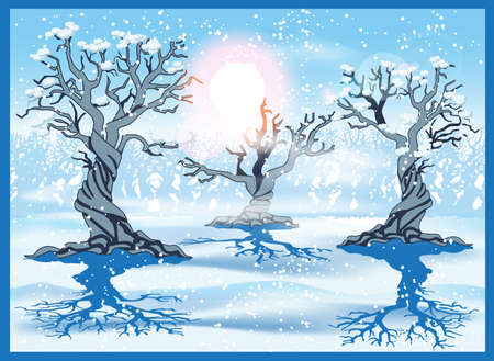 needed: Stylized vector illustration of a winter forest. Seamless horizontally if needed