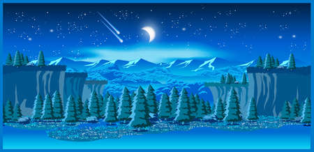 meteorites: Stylized vector illustration of a beautiful valley  at night. Seamless horizontally if needed