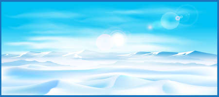 polar lights: Stylized vector illustration on the theme of winter and the north. Boundless northern landscape on a sunny day. Illustration seamless horizontally. Illustration
