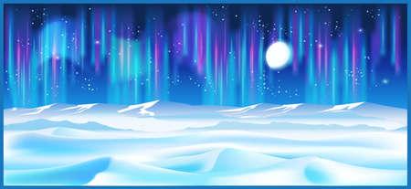 illustrazione vettoriale stilizzata sul tema dell'inverno e il nord. paesaggi nordici sconfinati, alla luce della luna e delle stelle. Illustrazione senza soluzione di continuità in senso orizzontale.