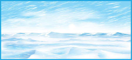 blizzards: Stylized vector illustration on the theme of winter and the north. Vast snowy expanses during blizzard