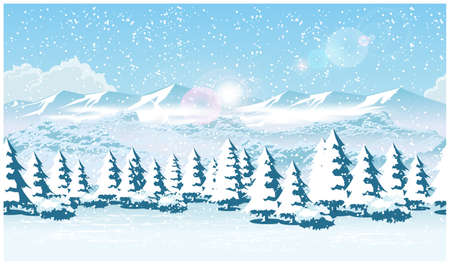 snowfall: Stylized vector illustration of a winter forest during a snowfall. Illustration seamless horizontally