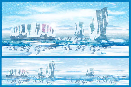 needed: Vector illustration on the theme of the Far North. Icebergs in the Arctic Ocean and arctic blizzard. Illustration seamless horizontally if needed.
