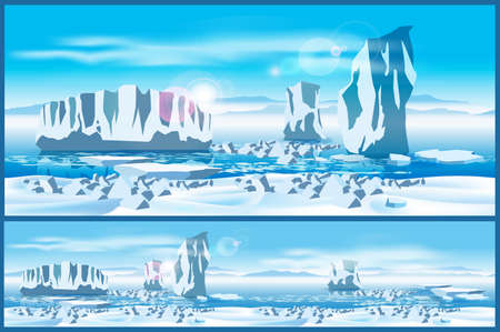 Vector illustration on the theme of the Far North. Icebergs in the Arctic Ocean. Illustration seamless horizontally if needed. Illustration